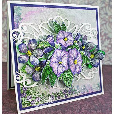 Purple Scalloped Border Petunias - Heartfelt Creations