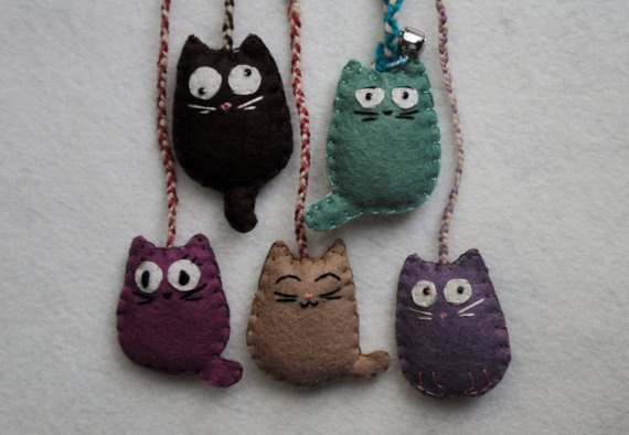 Cat Felt Keychain. $10.00, via Etsy.