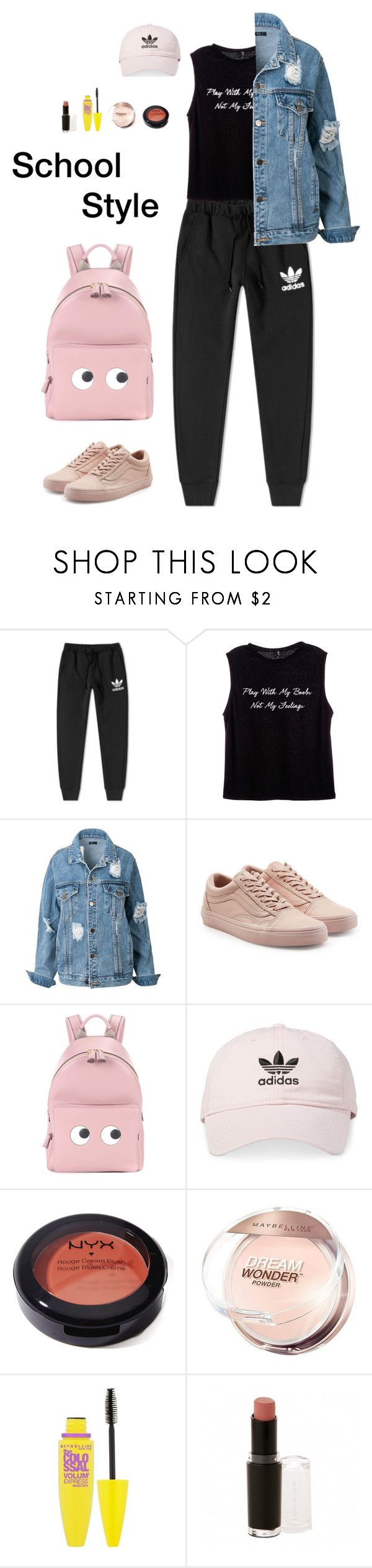 """School Style (4)"" by irisazlou on Polyvore featuring mode, adidas, Vans, Anya Hindmarch, NYX, Maybelline et Wet n Wild"