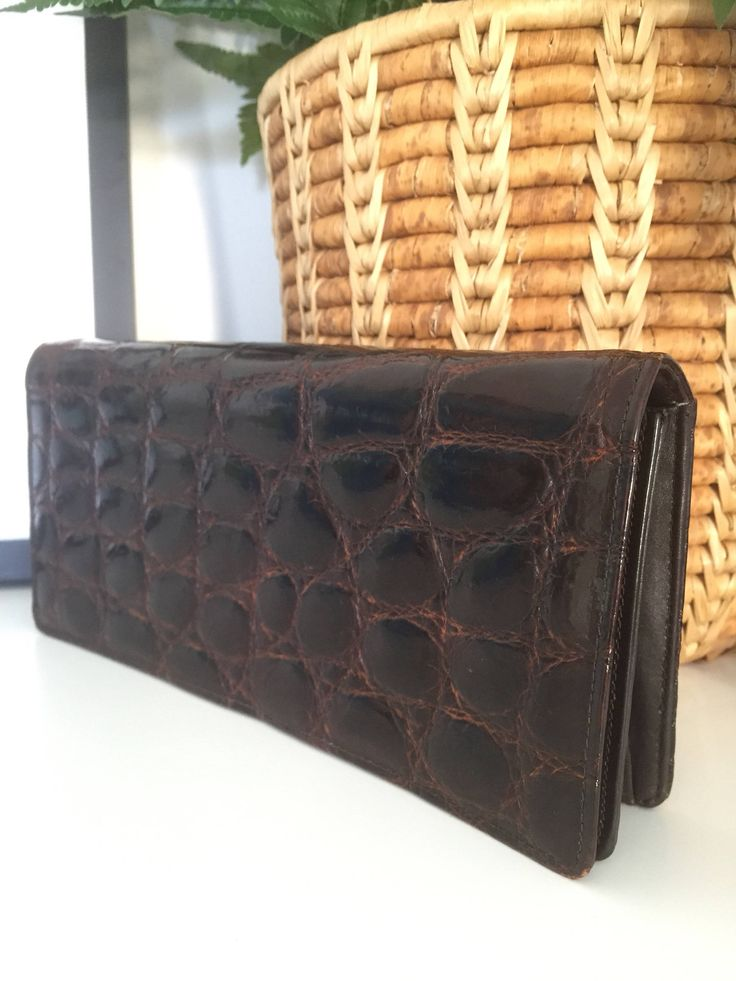Alligator/leather/clutch/brown/1950s by WifinpoofVintage on Etsy