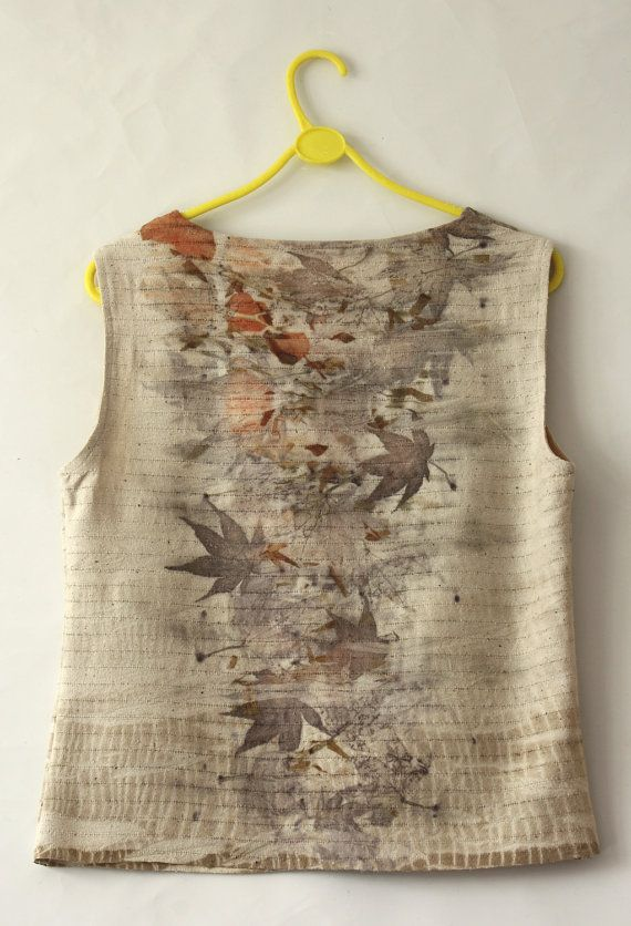 Silk Top Blouse Eco Naturally Printed Woman laid back handmade luxurious clothing small to medium size