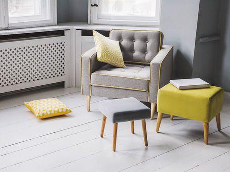 Beliani Flam Sessel Sitzgelegenheit Stuhl Mbel Einrichtung Grau Gelb