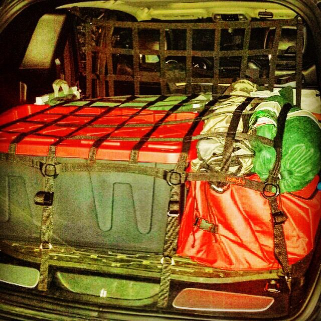 Load up and secure your gear in back!  Your head will thank you in the event of a sudden stop planned or not.  www.raingler.com #CARGONET #PET #BARRIER