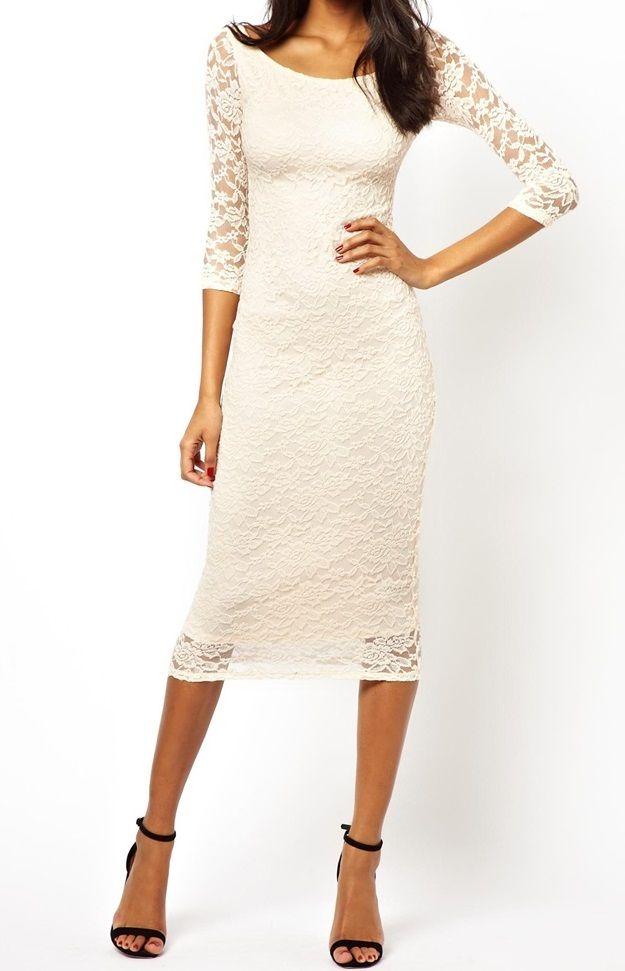 Dámske oblečenie | Dámske šaty | Asos Bardot Lace Midi šaty krémové | www.nells.sk - Parfumy, kozmetika a oblečenie svetových značiek.