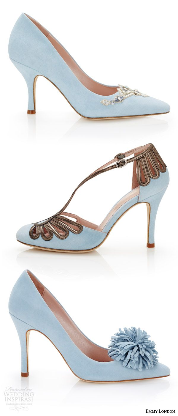EMMY LONDON #shoes color #wedding shoes duck egg blue #bridal shoes delphine pointed toe chloe closed toe suzannah court heels pom