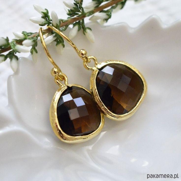 kolczyki - szkło-Smoky quartz drops in gold