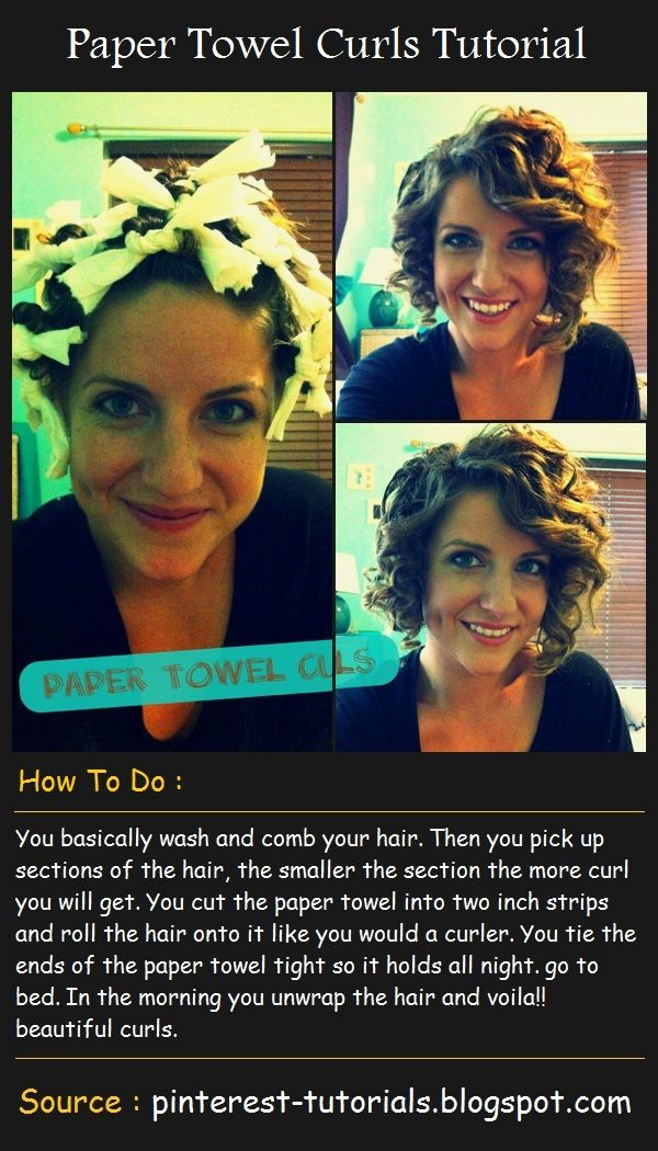 Paper Towel Curls Tutorial . . . .one pinned said- Epic Fail !! This should come with a warning that it is NOT I repeat NOT for people who already have curly hair.  I have never seen my hair so short or curly. Made for a great Sunday morning laugh and craziness trying to fix in time for church. I'd say it would work well on wavy or straight hair tho. Too funny!