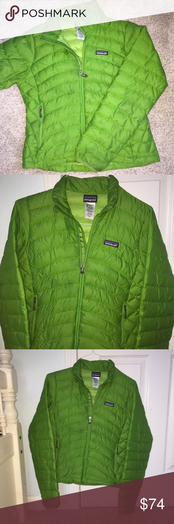 Patagonia puffer down jacket/sweater/winter coat Cute green color- Patagonia warm winter puffer jacket. Great used condition. Originally about 200 dollars. Keeps you super warm. Awesome quality. If you have questions feel free to ask:) I am selling but also looking to trade for a black one! Patagonia Jackets & Coats Puffers