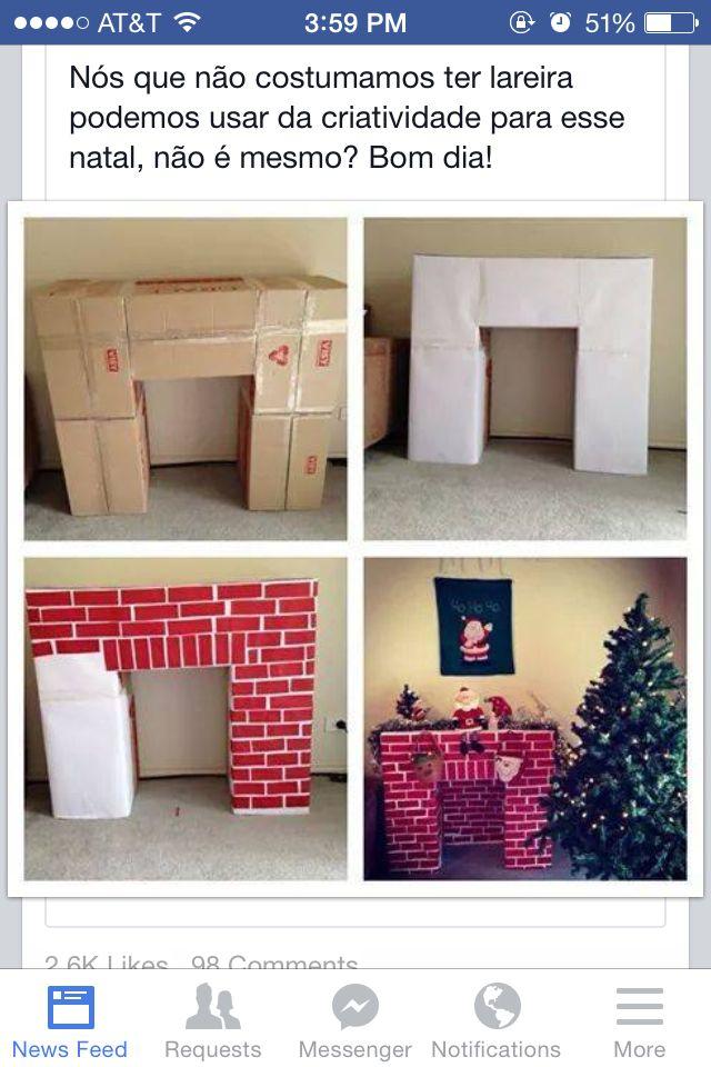 DIY fireplace for Santa.