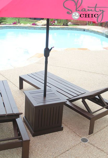 diy outdoor umbrella stand and loungers, decks, outdoor furniture, painted furniture, patio