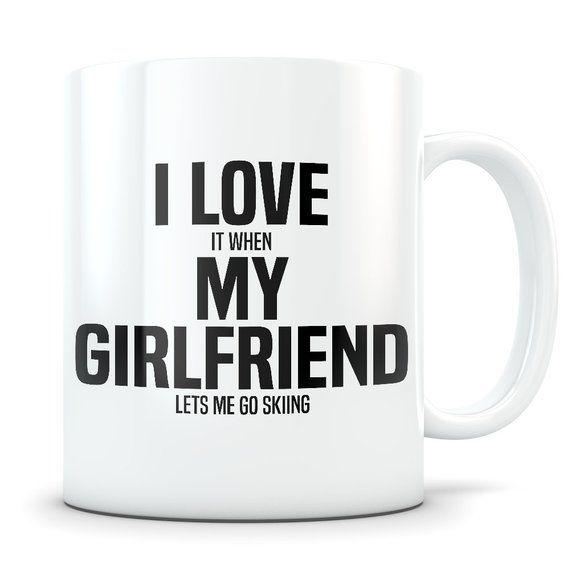 Skiing Mug, skiing gift, skiing gift idea, skiing gift for boyfriend, ski gift, ski mug, funny ski gift, skier gift, I love my bf