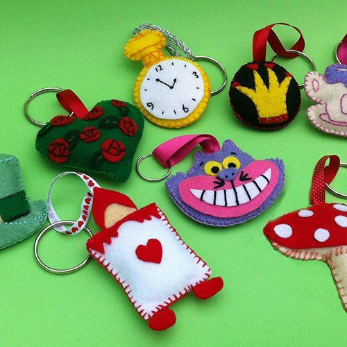 Mad Hatter Felt Keyring Patterns - available here http://www.partyideasuk.co.uk/library/party-themes/mad-hatter-tea-party-ideas/mad-hatter-felt-keyring-patterns.aspx