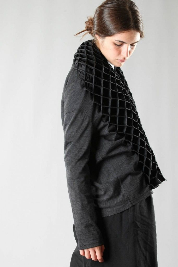 Junya Watanabe hip-length cardigan in light wool jersey with shawl floral origami neck, long sleeve, central small buttons closure.