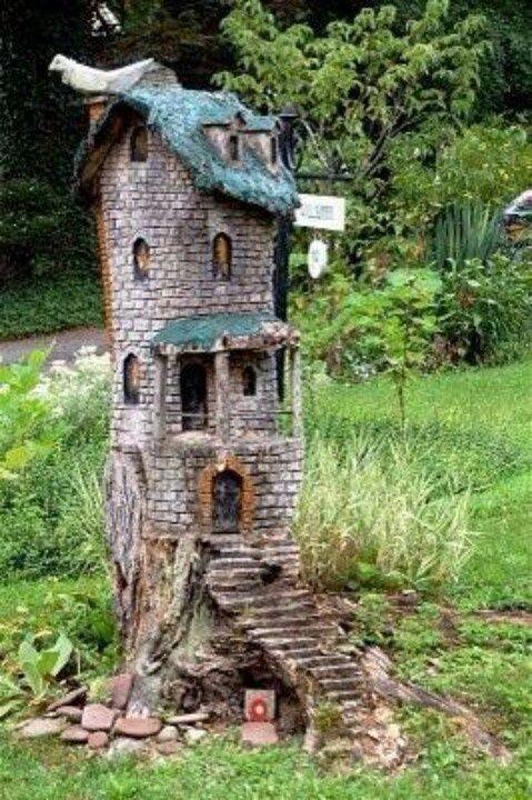 Fairy home carved out of tree trunk - Ooooh, LOVE this!!  I have a stump in my back yard but it's not as tall as this one. Still....what a great idea!