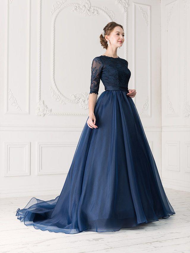 レースの透け感が優しいネイビーのカラードレス♪ウェディングドレス・花嫁衣装の参考一覧まとめ♪