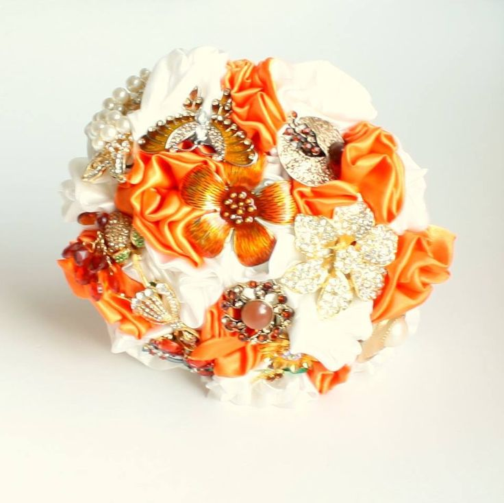 Autumnal orange and ivory Fabric and Brooch Bouquet by Florio Designs