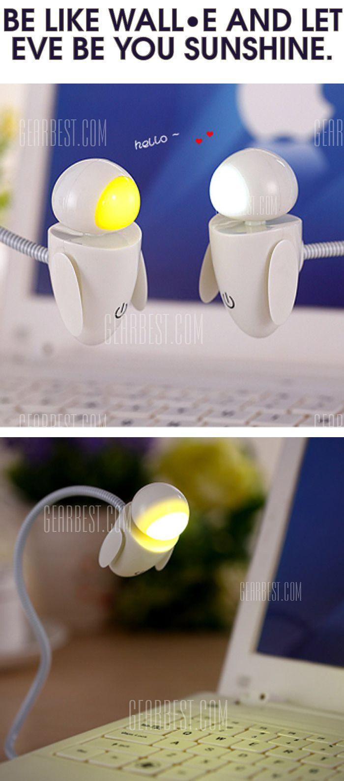 Creative #Robot Design #LED Night #Light Adjustable Brightness #pixar #walle #eve