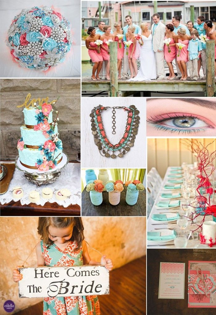 Coral and Aqua Wedding Theme #2014weddings #events