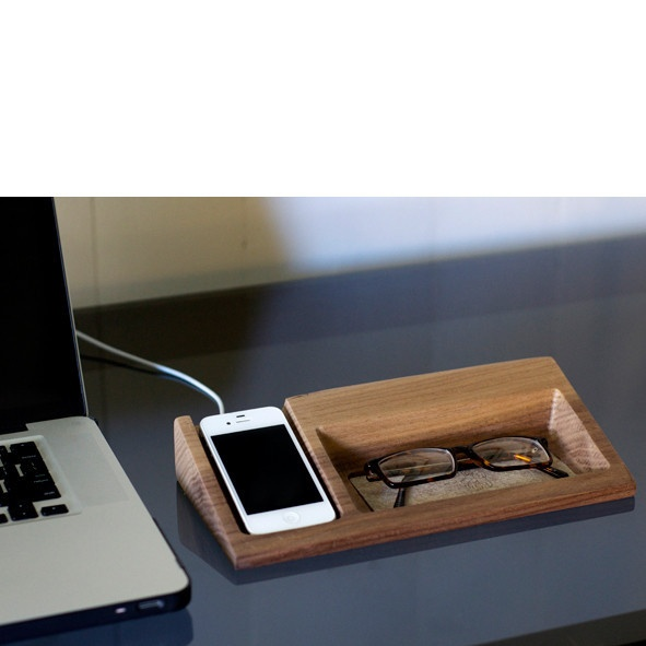 Solid wood glasses holder with an IPhone dock. (android soon)  Available in two hardwood options _ Ash or Walnut.