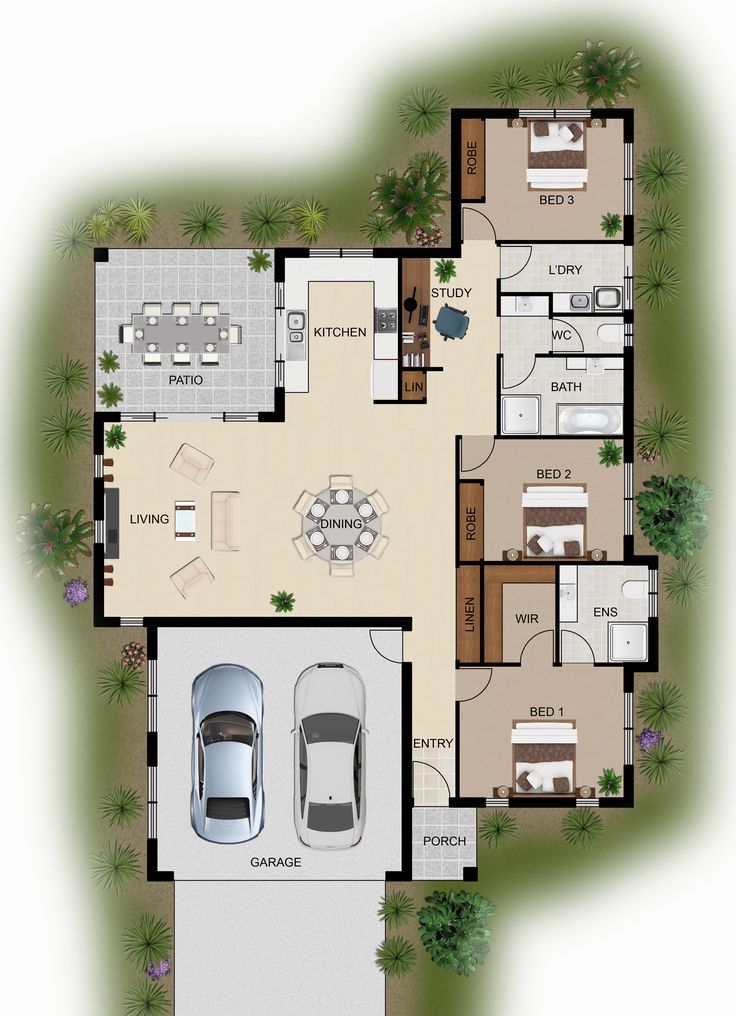 2d colour floor plan for a home building company innisfail qld - Custom Floor Plans