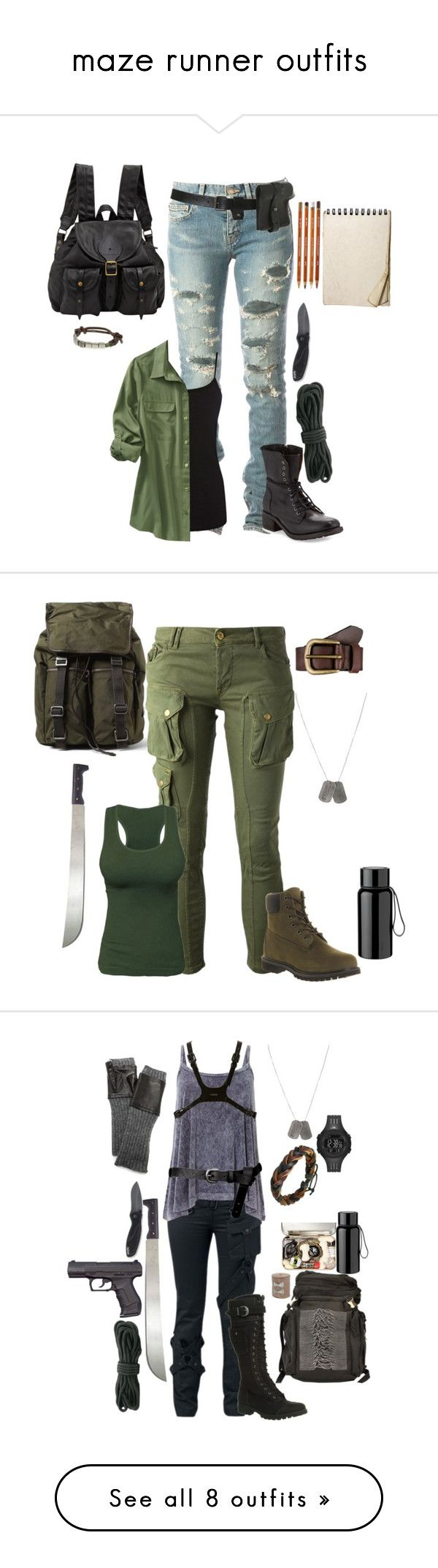 """maze runner outfits"" by gone-girl ❤ liked on Polyvore featuring Yves Saint Laurent, Warehouse, Old Navy, Kershaw, Jas M.B., American Eagle Outfitters, Modern Vintage, Dolce&Gabbana, CYCLE and Liebeskind"