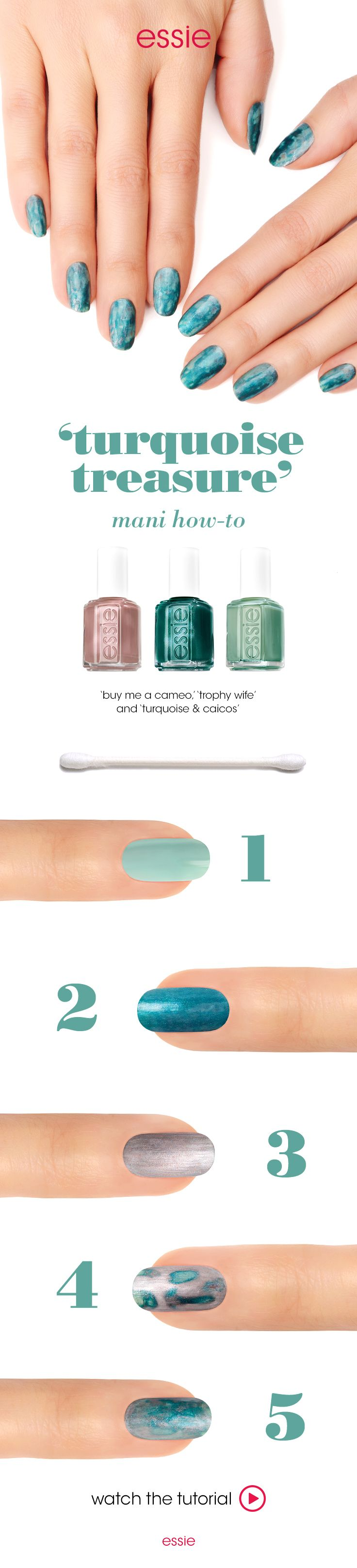The soothing colors of turquoise are welcome on any day. The 'turquoise treasure' mani will surely live up to it's sophisticated name. Apply a base coat of essie 'millionails', follow it with 2 coats 'turquoise & caicos'. Next, apply one coat of 'trophy wife' and follow it up with a coat of 'buy me a cameo'. Let these 4 coats completely dry. Dab a little nail polish remover on a cotton swab and use a swiping or a dabbing motion over the nail. That's it! Your mani is ready for any occasion.