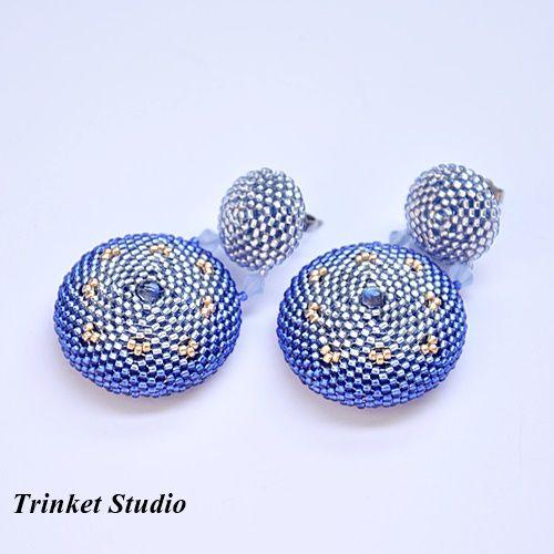 Umbriel - Krótkie kolczyki na sztyfcie z labradorytami / Trinket Studio / Biżuteria / Kolczyki