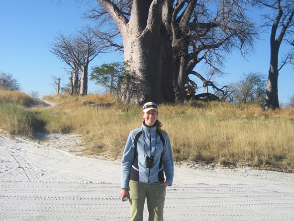 Janine admiring Africa's largest trees - baobabs!