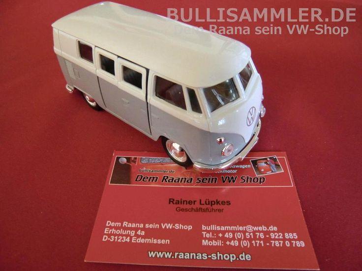 VW Bus T1 grau-weiß ca. 12cm mit Rückzugmotor WELLY Modell Modellauto (WP015)