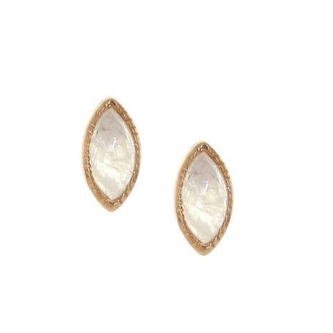 MINI TRUST STUD EARRINGS - MOONSTONE & ROSE GOLD | Buy So Pretty Jewelry Online & In Stores