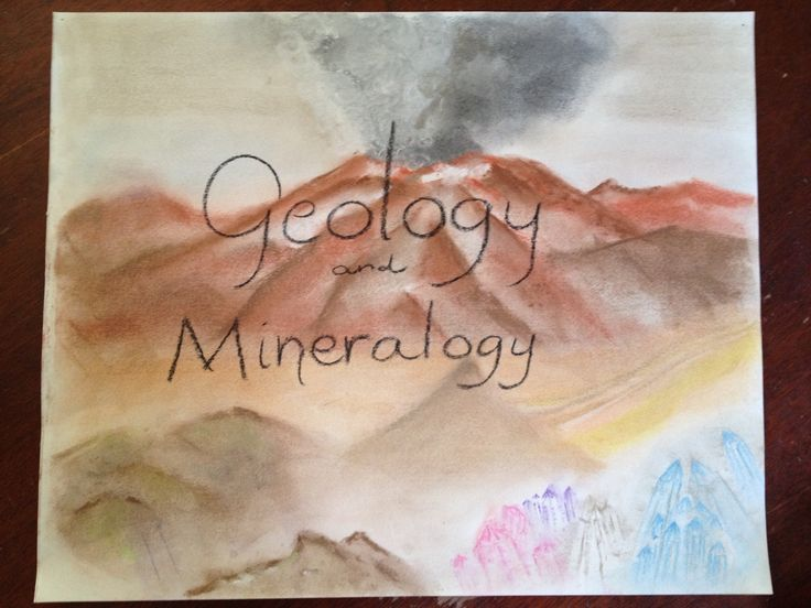 Geology & Mineralogy main lesson book cover page. Waldorf grade 6.