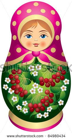 stock vector : Matryoshka doll with red berries in vector, Russian nested doll, Babushka doll, Russian Souvenir, present, dressed in a sarafan, fairy tale