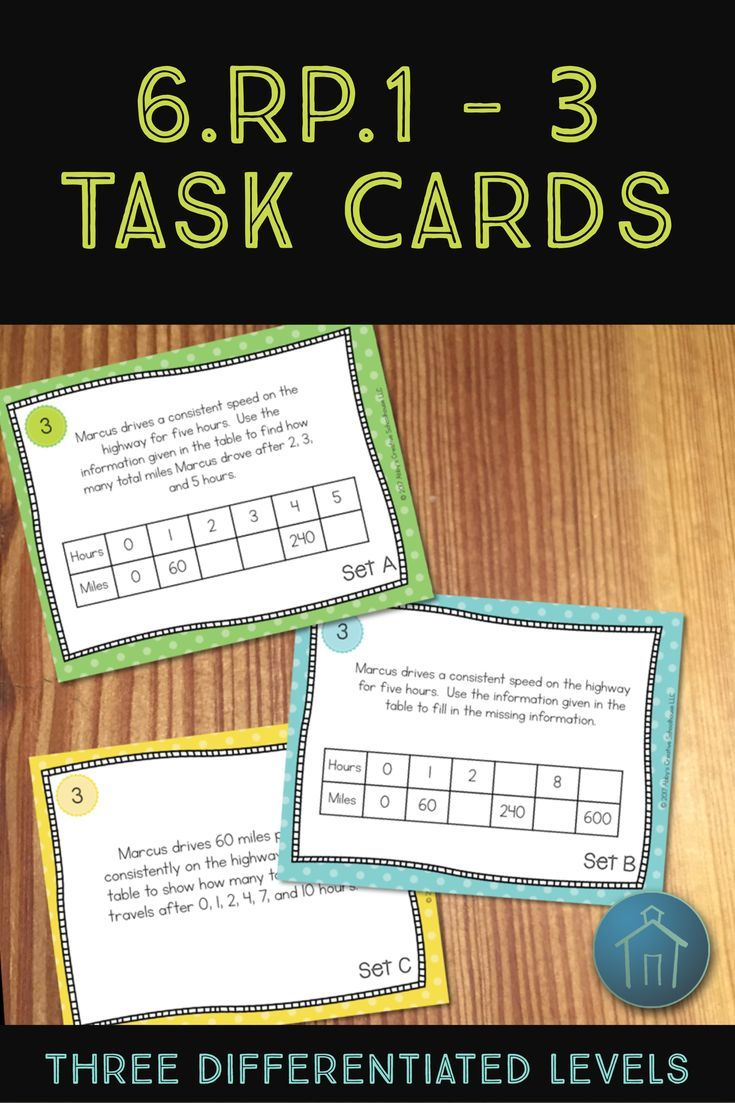 This product includes 3 sets of rate and ratio task cards with 12 cards in each set. Students will solve problems as required in 6.RP.1, 6.RP.2, and 6.RP.3a/b to use tables, double number lines, and tape diagrams to find rates and ratios. Each level of ta