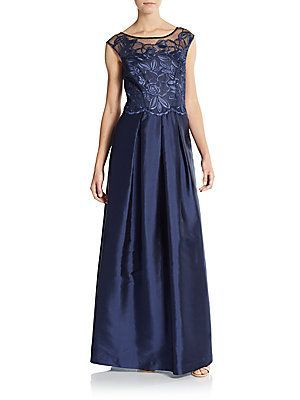 Kay Unger Floral Lace Ball Gown - Navy - Size 2