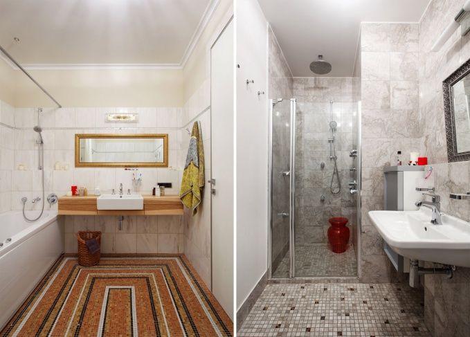 В отделке ванной комнаты и санузла использовался мрамор и керамическая плитка.