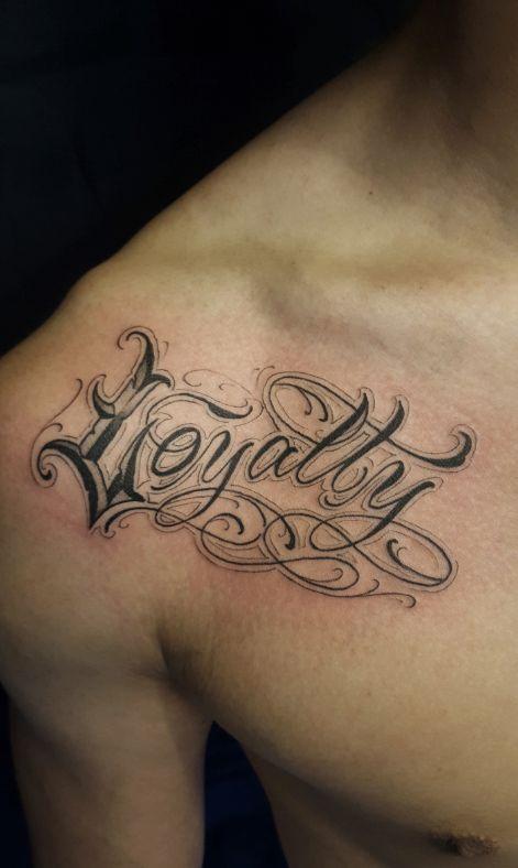 "Chronic Ink Tattoo - Toronto Tattoo  Custom lettering ""Loyalty"" tattoo done by Steve Chen."