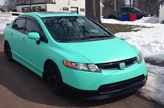 360 CUSTOMS LLC - Project of the Month!! 2008 Honda Civic Si wrapped with Oracal 970RA Matte Mint.