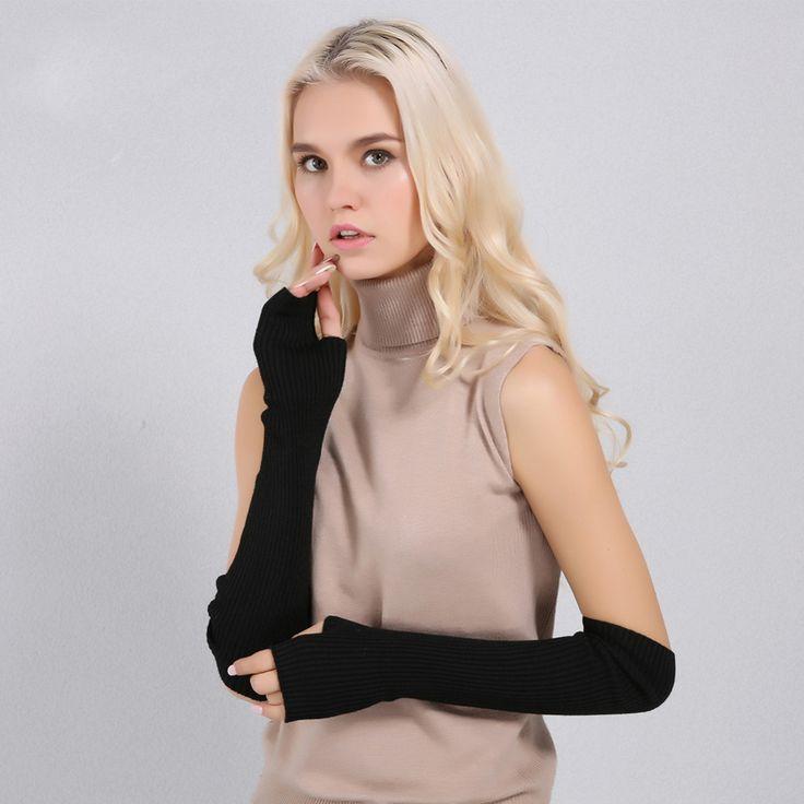 Luxusné dámske dlhé rukavice z kašmíru bez prstov