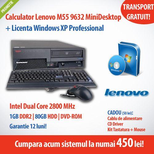 Cumpara acum calculatorul Lenovo M55 9632 MiniDesktop, cu procesor Intel Dual Core, memorie 1 GB DDR2, HDD SATA 80GB si DVD-ROM + Licenta Windows XP Professional, la numai 450 de lei! Ai 12 luni garantie si transportul gratuit!