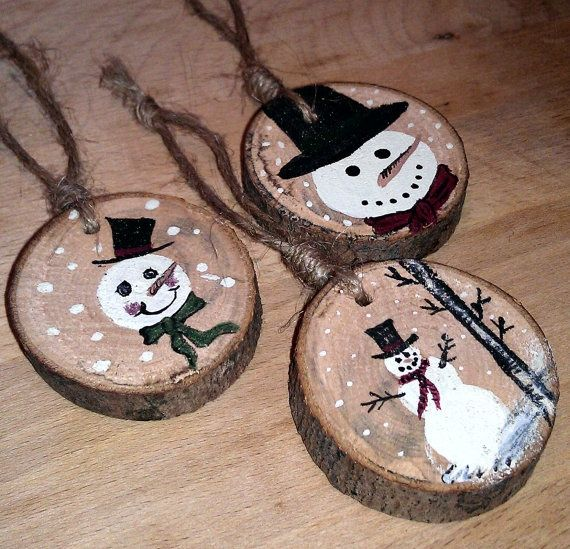 Snowman Ornaments! (Every year, I always save the part of the trunk that my Dad cuts off...now I know what Im going to start doing with it!!)