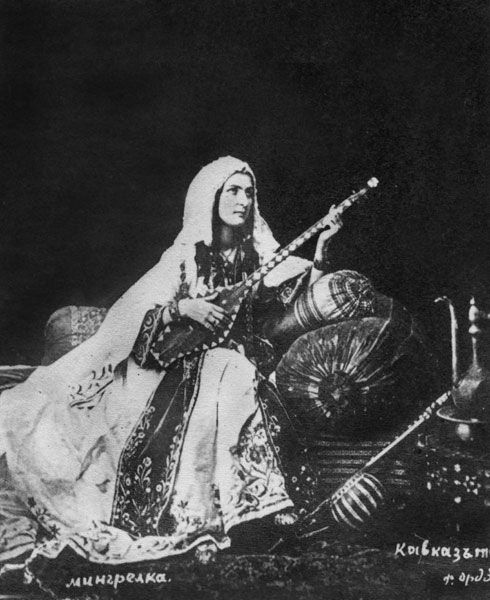Mingrelian woman 1881  Traditional female dress in the caucasus
