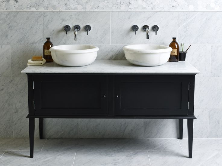 Carrara Honed Marble, Carrara Pencil, and Carrara Hexagon Mosaics with Calacatta Saturn Basins. Also new Chelsea Vanity, which is available in double or single units and in a variety of colours and stone tops.