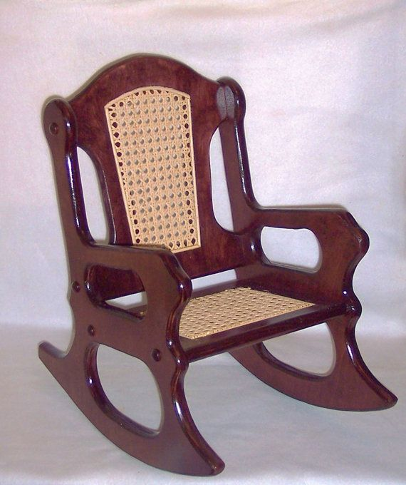 wooden rocking chair mahogany and cane by weaverwood on etsy