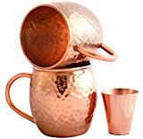#1: Set of 2 Moscow Mule Copper Mugs with Shot Glass  Two 16 Oz Copper Moscow Mule Mugs  Solid Copper Hammered Mug  Copper Cups for Moscow Mules