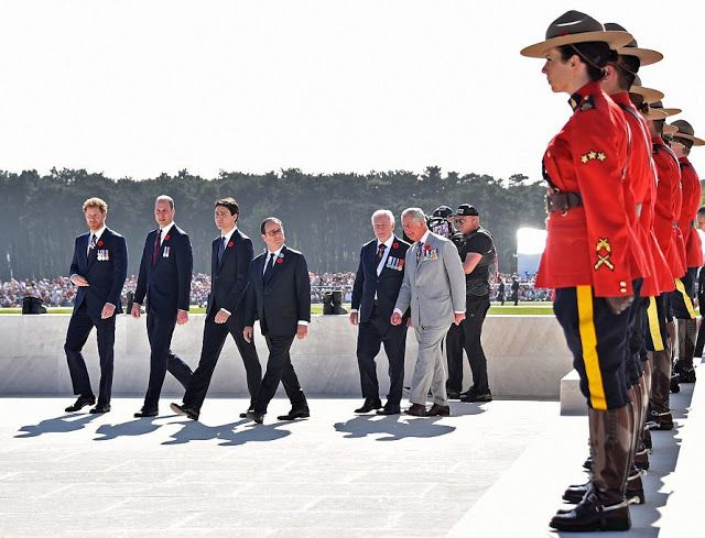 (from front L-R) Royal Canadian Mounted Police stood to attention as Prince Harry, Prince William along with Canadian Prime Minister Justin Trudeau, French President Francois Hollande, Governor General of Canada David Johnston and Prince Charles, walked past.