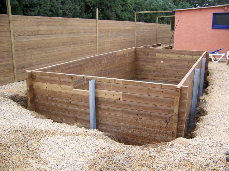 Am nagement piscine bois rectangulaire semi enterr e en - Piscine rectangulaire semi enterree ...
