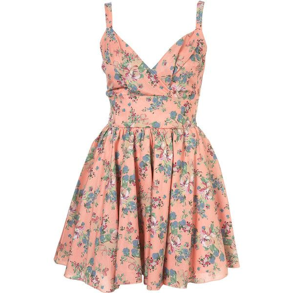 Floral Cross Dress by Love** (4.910 RUB) ❤ liked on Polyvore featuring dresses, vestidos, pink, floral, women, red cotton dress, floral dress, flower print dress, floral printed dress and pink dress