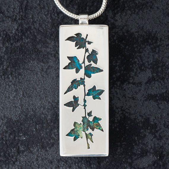 Vine featuring 'Spiderweb Chrysocolla' - Hand-cut Reversible Sterling Silver Pendant
