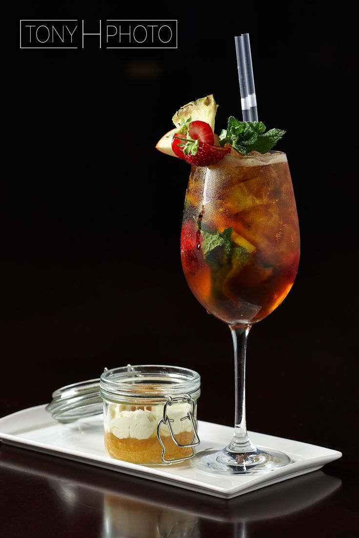 Pimm's cocktail and dessert shot for St James Sofitel hotel