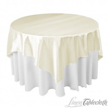72 Inch Square Satin Overlay Ivory On A 60 Inch Round Table From  LinenTablecloth